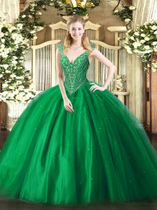 V-neck Sleeveless Lace Up Sweet 16 Dress Green Tulle