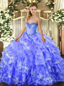 Floor Length Blue Quince Ball Gowns Sweetheart Sleeveless Lace Up