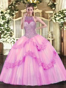 Rose Pink Tulle Lace Up Halter Top Sleeveless Floor Length Ball Gown Prom Dress Beading and Appliques