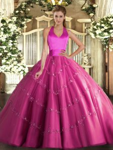 Customized Hot Pink Lace Up Halter Top Appliques Ball Gown Prom Dress Tulle Sleeveless
