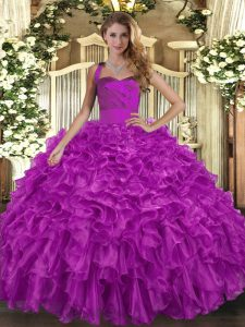 Suitable Sleeveless Organza Floor Length Lace Up Quinceanera Gowns in Fuchsia with Ruffles