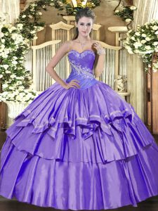 Stunning Lavender Organza and Taffeta Lace Up Vestidos de Quinceanera Sleeveless Floor Length Beading and Ruffled Layers