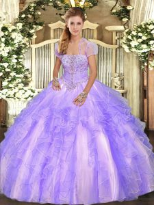 Customized Lavender Ball Gowns Strapless Sleeveless Tulle Floor Length Lace Up Appliques and Ruffles Sweet 16 Quinceanera Dress
