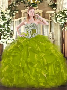 Edgy Olive Green Sleeveless Beading and Ruffles Floor Length Sweet 16 Dresses
