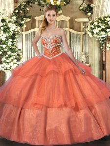 Orange Red Tulle Lace Up Sweetheart Sleeveless Floor Length Quinceanera Gown Beading and Ruffled Layers