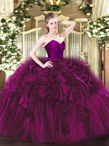 Traditional Fuchsia Ball Gowns Sweetheart Sleeveless Organza Floor Length Zipper Ruffles Quinceanera Gown