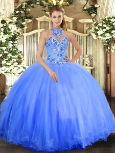Vintage Ball Gowns Quinceanera Dress Blue Halter Top Tulle Sleeveless Floor Length Lace Up