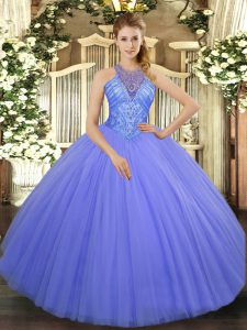 Trendy Lavender Sleeveless Floor Length Beading Lace Up Quinceanera Dresses