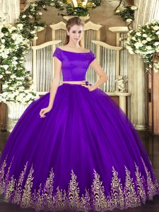 Tulle Off The Shoulder Short Sleeves Zipper Appliques 15 Quinceanera Dress in Purple