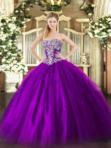 Fabulous Purple Sleeveless Tulle Lace Up Sweet 16 Dresses for Military Ball and Sweet 16 and Quinceanera