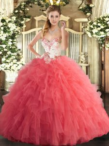 Designer Watermelon Red Ball Gowns Tulle Sweetheart Sleeveless Beading and Ruffles Floor Length Lace Up 15 Quinceanera Dress