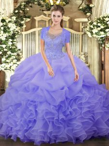 Ball Gowns Ball Gown Prom Dress Lavender Scoop Tulle Sleeveless Floor Length Clasp Handle