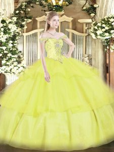 Off The Shoulder Sleeveless Lace Up Quinceanera Gown Yellow Organza