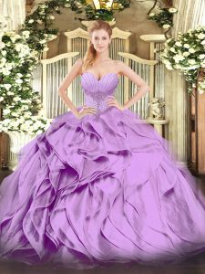 Eye-catching Floor Length Ball Gowns Sleeveless Lavender Vestidos de Quinceanera Lace Up