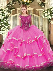 Fuchsia Zipper Scoop Beading and Ruffled Layers Quinceanera Gowns Organza Sleeveless