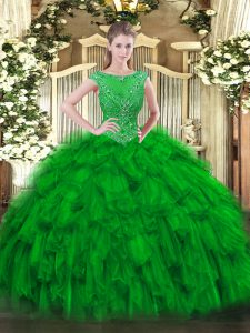 Customized Green Organza Zipper 15 Quinceanera Dress Sleeveless Floor Length Beading and Ruffles