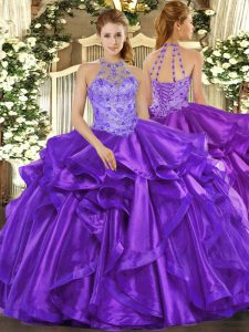 Adorable Purple Sleeveless Beading and Embroidery and Ruffles Floor Length Sweet 16 Dress