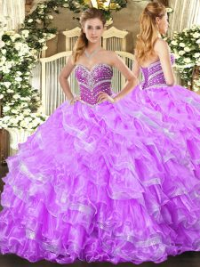 Lilac Sweetheart Lace Up Beading and Ruffled Layers 15th Birthday Dress Sleeveless