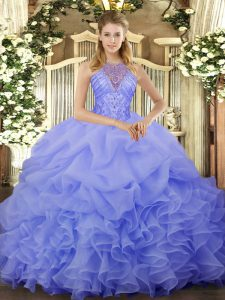 High End Blue Halter Top Neckline Beading and Ruffles and Pick Ups 15 Quinceanera Dress Sleeveless Lace Up