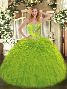Stunning Beading and Ruffles Quinceanera Dresses Olive Green Lace Up Sleeveless Floor Length