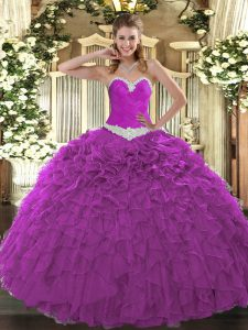 Perfect Fuchsia Ball Gowns Organza Sweetheart Sleeveless Appliques and Ruffles Floor Length Lace Up Quinceanera Dress