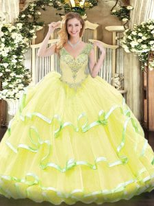 Noble V-neck Sleeveless 15 Quinceanera Dress Floor Length Beading and Ruffled Layers Yellow Organza