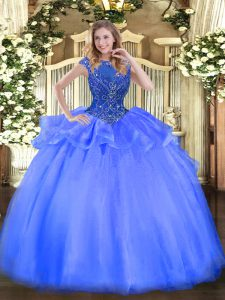 Fantastic Floor Length Blue Quinceanera Dress Organza Cap Sleeves Beading