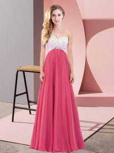 Coral Red Empire Beading Homecoming Dress Criss Cross Chiffon Sleeveless Floor Length