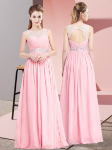 High Quality Pink Chiffon Lace Up Scoop Sleeveless Floor Length Evening Dress Beading