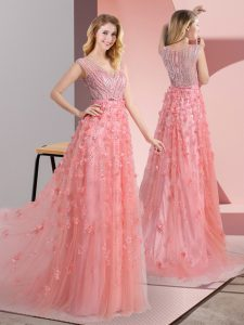 Low Price Pink Sleeveless Sweep Train Beading and Appliques Prom Gown