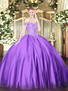 Perfect Floor Length Purple Ball Gown Prom Dress Satin Sleeveless Beading