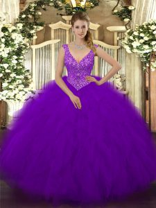 V-neck Sleeveless Quince Ball Gowns Floor Length Beading and Ruffles Purple Tulle