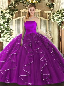 Deluxe Ruffles Vestidos de Quinceanera Purple Lace Up Sleeveless Floor Length