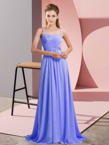 High Quality Chiffon Spaghetti Straps Sleeveless Sweep Train Backless Ruching Prom Dresses in Lavender