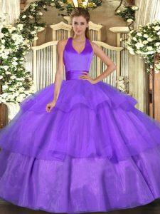 Lavender Halter Top Neckline Ruffled Layers Quince Ball Gowns Sleeveless Lace Up