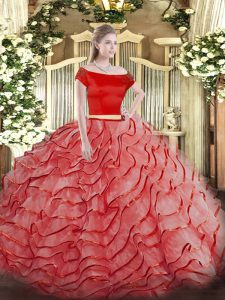 Discount Coral Red Short Sleeves Ruffled Layers Zipper Sweet 16 Quinceanera Dress