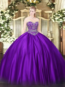 Superior Ball Gowns Quinceanera Gowns Purple Sweetheart Satin Sleeveless Floor Length Lace Up