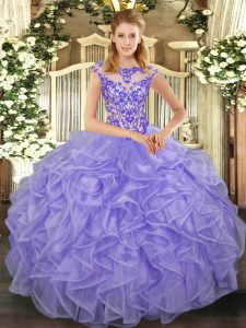 Hot Selling Organza Scoop Cap Sleeves Lace Up Beading and Appliques and Ruffles Quinceanera Dresses in Lavender