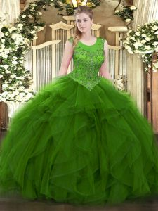 Smart Green Zipper Ball Gown Prom Dress Beading and Ruffles Sleeveless Floor Length