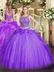 Most Popular Floor Length Lavender 15th Birthday Dress Tulle Sleeveless Beading and Ruffles