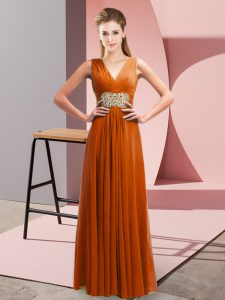Modern Floor Length Empire Sleeveless Rust Red Evening Dress Side Zipper