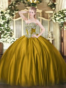 Traditional Floor Length Lace Up Quinceanera Gowns Brown for Military Ball and Sweet 16 and Quinceanera with Beading