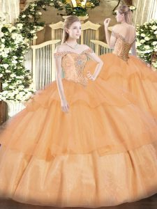 Off The Shoulder Sleeveless Lace Up Vestidos de Quinceanera Orange Organza