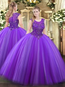 Designer Scoop Sleeveless Zipper Quinceanera Gowns Eggplant Purple Tulle