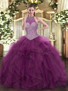 Super Floor Length Burgundy Quinceanera Gown Halter Top Sleeveless Lace Up
