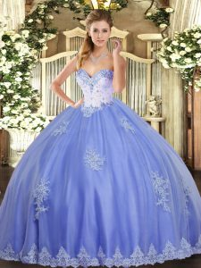 Excellent Floor Length Lace Up Quince Ball Gowns Blue for Military Ball and Sweet 16 and Quinceanera with Beading and Appliques