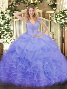 Excellent Floor Length Lavender Quinceanera Gowns V-neck Sleeveless Lace Up