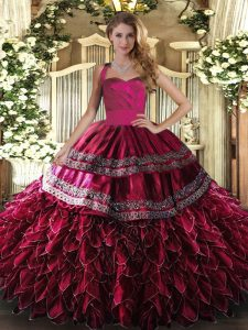Floor Length Ball Gowns Sleeveless Wine Red Quinceanera Dresses Lace Up