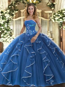 Blue Ball Gowns Strapless Sleeveless Tulle Floor Length Lace Up Beading and Ruffles 15th Birthday Dress