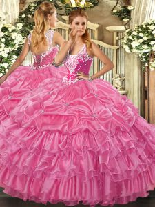 Cheap Rose Pink Ball Gowns Straps Sleeveless Organza Floor Length Lace Up Beading and Ruffled Layers and Pick Ups 15 Quinceanera Dress